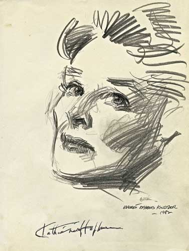 Drawing of Katharine Hepburn, by Everett Raymond Kinstler