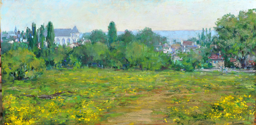 The Path to Giverny: Looking Back to Vernon (12x24)