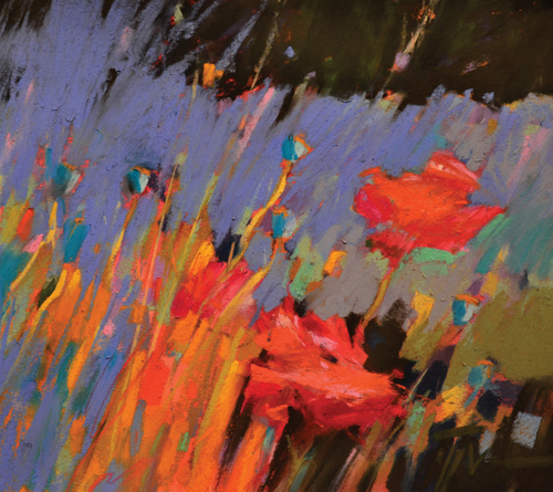 Poppy Blues (pastel, 8x9) by Jennifer Evenhus | pastel painting