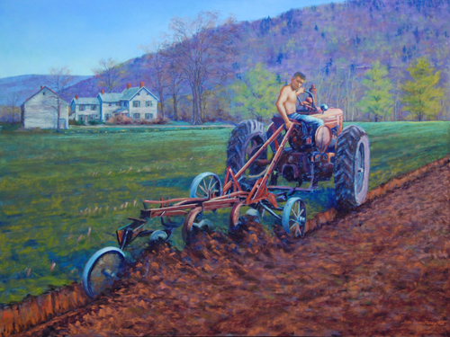The Farmer and the Earth (pastel, 18x24) by Jean Terry