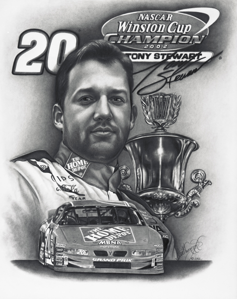The drawing I did for Tony Stewart's championship win.