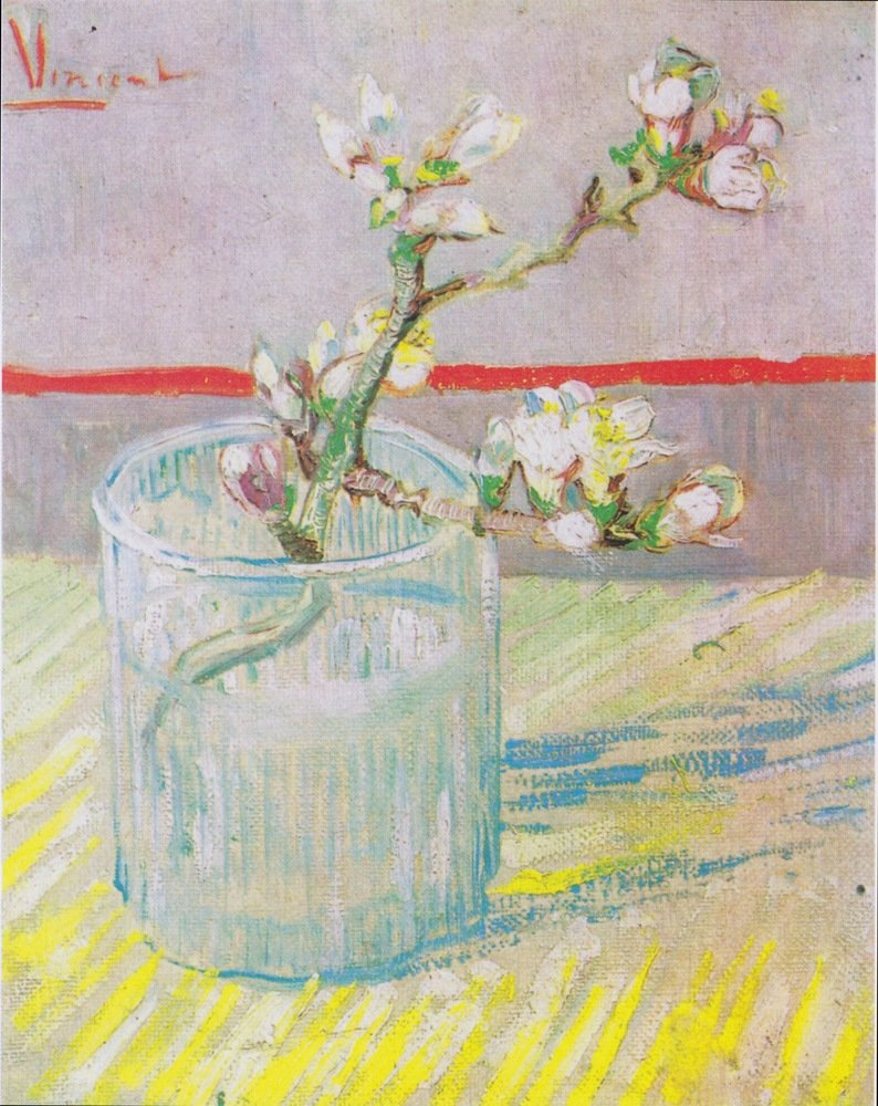 Blossoming Almond Branch in a Glass by Vincent Van Gogh, 1888