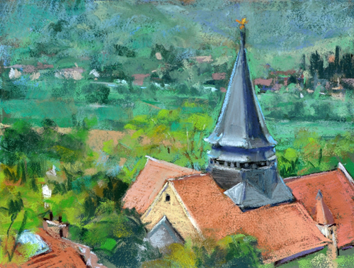 Above the Church, Giverny  (9x12)