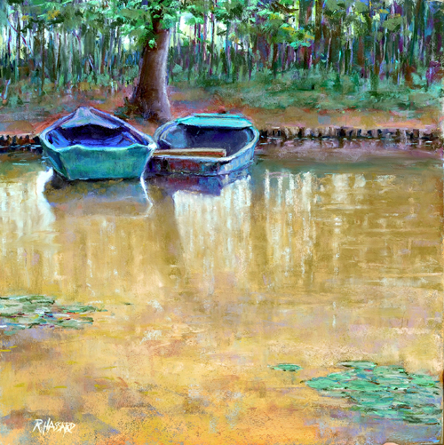 Boats Near the Waterlily Pond, Giverny (18x18)