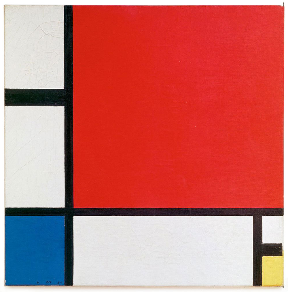Composition II in Red, Blue and Yellow by Piet Mondrian, 1930