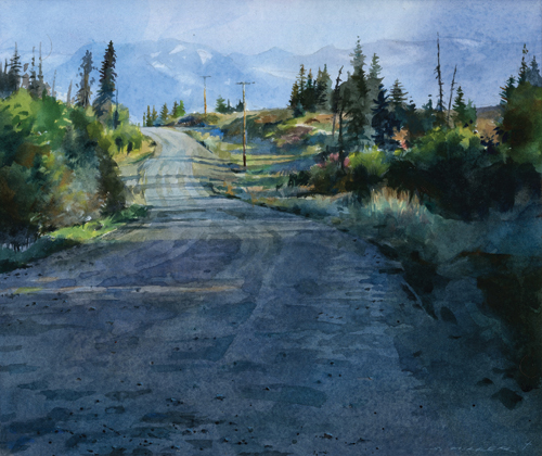 Alaska Back Road (watercolor on paper, 12x13) by Stan Miller