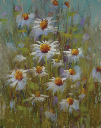 Daisy Delight (pastel) by Karen Margulis
