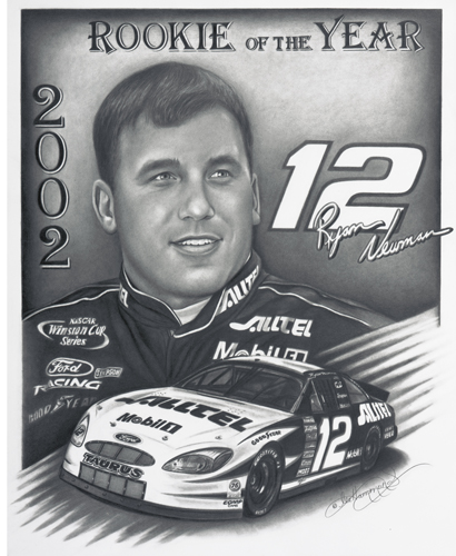 Drawing of Ryan Newman, The Rookie of the Year
