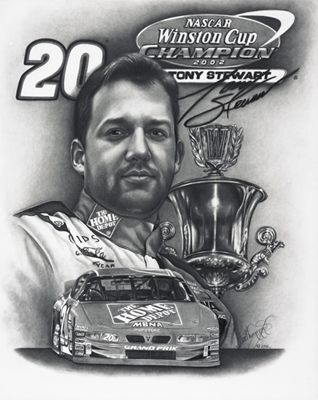 Nascar drawing of Tony Stewart