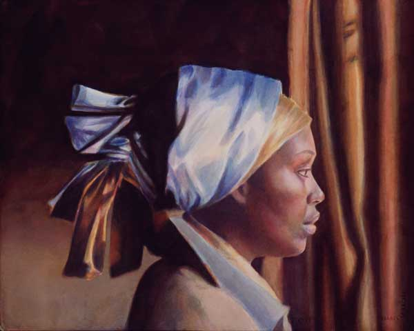 portrait painting by Jean Pederson, Silk Wrapped