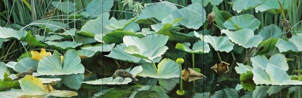 Redwings & Yellowthroat (triptych; oil, each panel 24x24)
