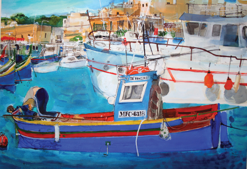 Ta' Pawlina (watercolor) by Peter Quinn