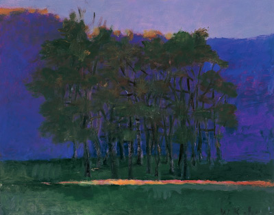 Wolf Kahn's Dark Clump of Trees (oil)