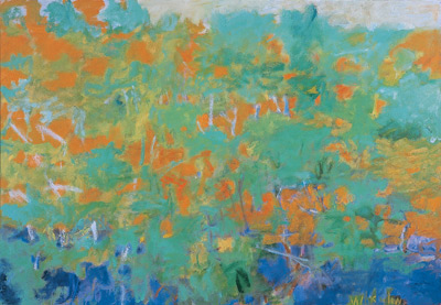 Wolf Kahn: Foliage in an Orange Setting (oil)