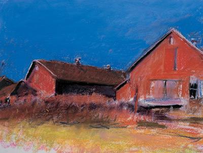Wolf Kahn's Barns in Ruin (pastel)