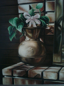 Spittoon on the Bricks (oil on canvas, 18x24)