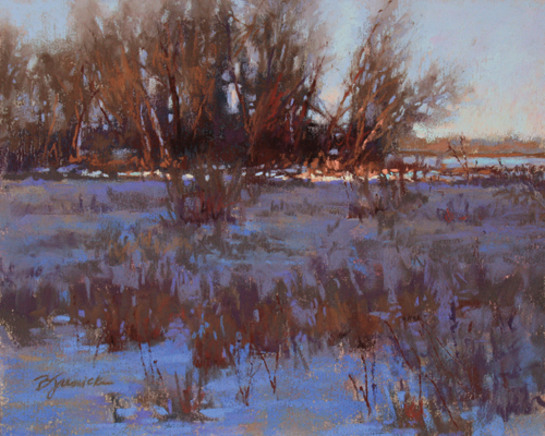 Winter Light Fading (pastel, 8x10) by Barbara Jaenicke | landscape painting