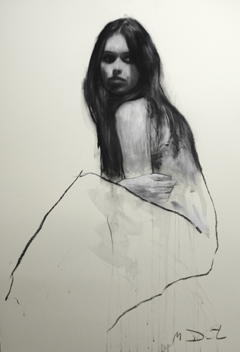 Holly Seated 11 (pastel and collage) by Mark Demsteader | figure painting