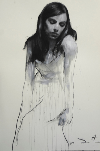 Natalie Seated (pastel and collage, 46x32) by Mark Demsteader | figure painting