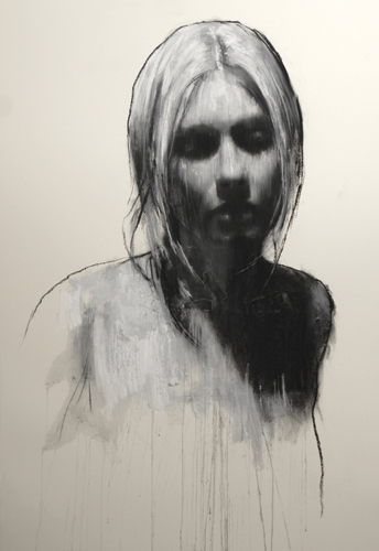 Sam (pastel and collage, 46x32) by Mark Demsteader | figure painting