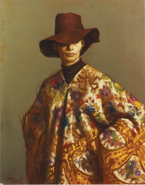 Pastel portrait painting with Daniel E Greene