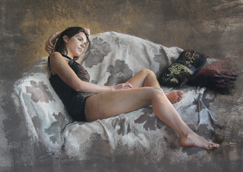 Gris Fleuri (pastel) by Nathalie Picoulet | figure painting