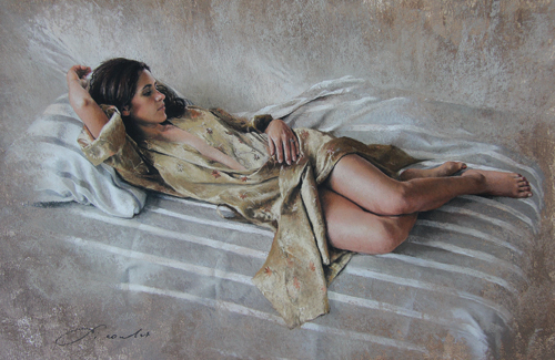 Se Reposer (pastel) by Nathalie Picoulet | figure painting