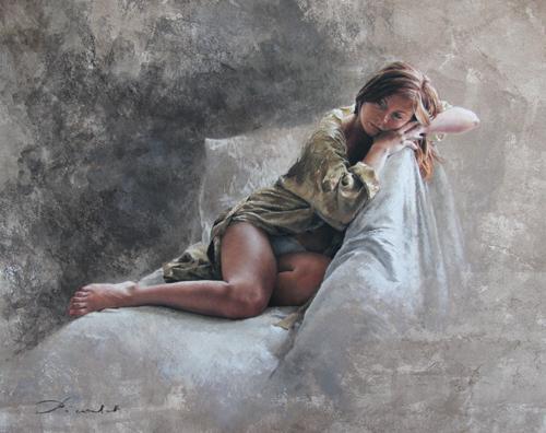 Caroline 3 Cadrée (pastel) by Nathalie Picoulet | figure painting