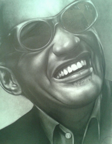 Portrait artist Lee Hammond, drawing of Ray Charles