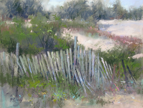 My plein air pastel, Atlantic Afternoon (9x12), required a focus on negative space, so I indicated the big shapes and masses that comprised the fence structure instead of painting every fence slat.