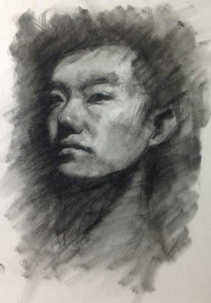 Portrait drawing by K. Hu