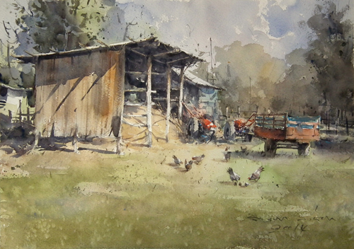 After Harvest (watercolor on paper) by Direk Kingnok | watercolor landscapes