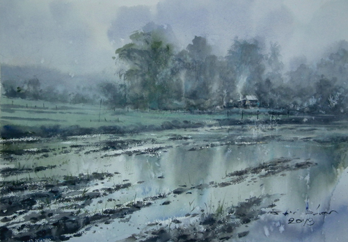 After the Rain (watercolor on paper) by Direk Kingnok | watercolor landscapes