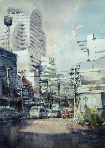 Bang Rak 1 (watercolor on paper) by Direk Kingnok | watercolor landscapes