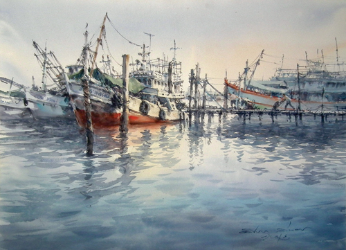 Fishing Boat (watercolor on paper) by Direk Kingnok | watercolor landscapes