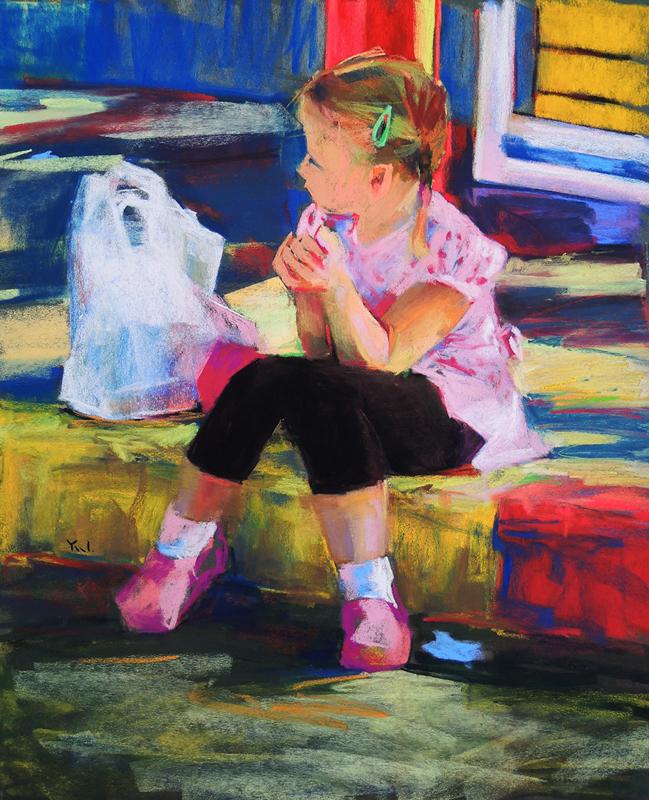Alice Alone (pastel) by Yael Maimon