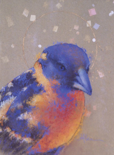 Summer Grosbeak (pastel on handmade paper, 24x18) by Jeanine Allen