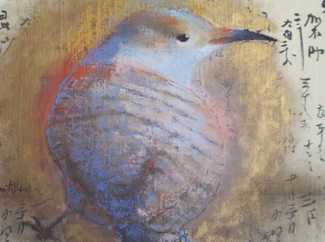 Golden Flicker (pastel on Japanese mulberry kanji script paper, 14x16) by Jeanine Allen