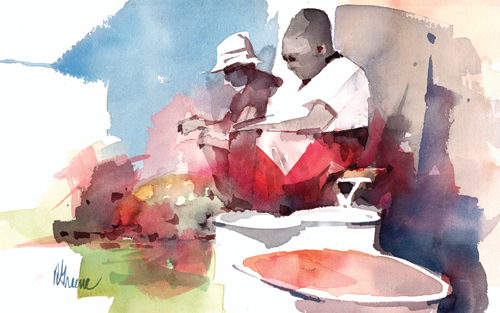 Fruit Vendors (acrylic) by Richard M. Greene
