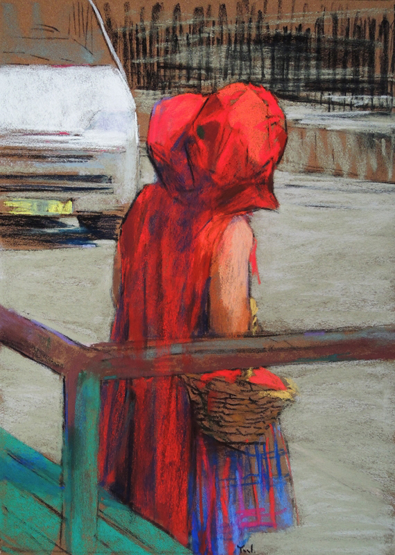 Little Red Riding Hood in the City (pastel) by Yael Maimon