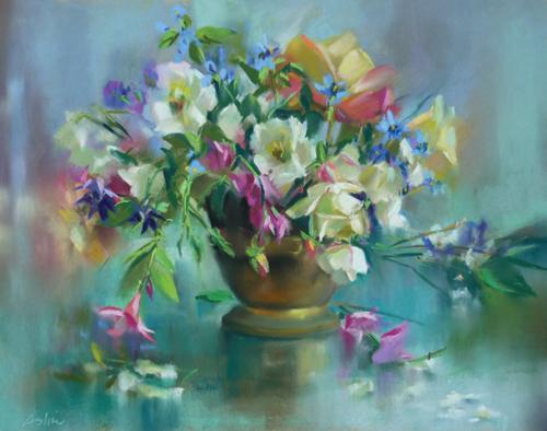 Misty Spring (pastel) by Mary Aslin