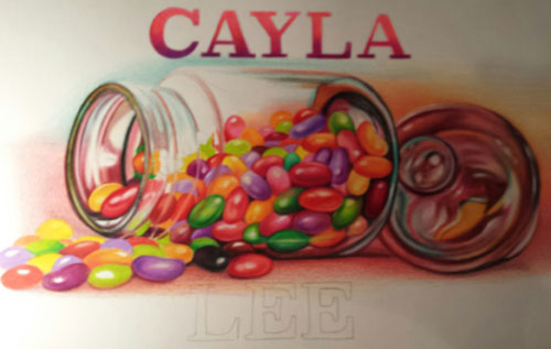 Colored pencil drawing of jelly beans in a jar