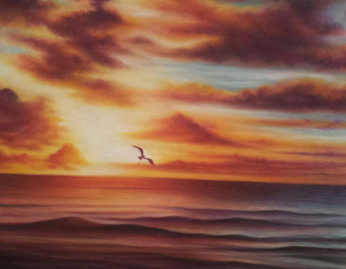 Seascape in colored pencil