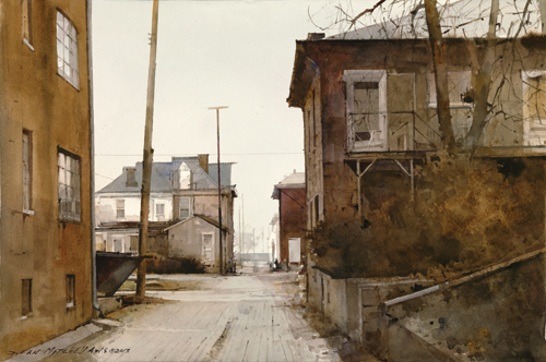 Damp Morning (watercolor) by Dean Mitchell