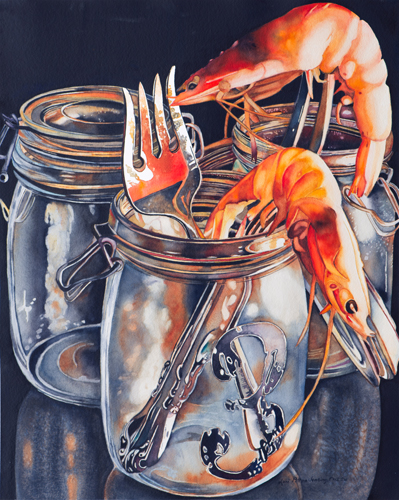 Prawns on Prongs (watercolor on paper, 24x19) by Lori Pitten Jenkins | up-and-coming artists