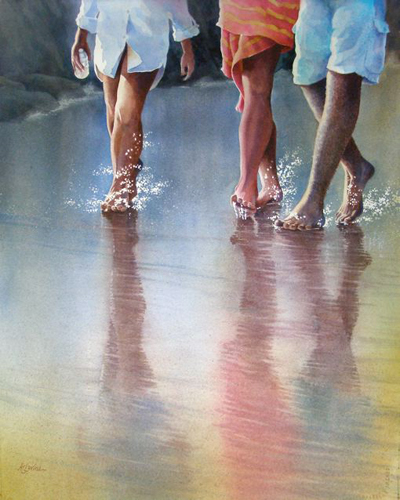 Low Tide (watercolor on paper) by Alexis Lavine | up-and-coming artists
