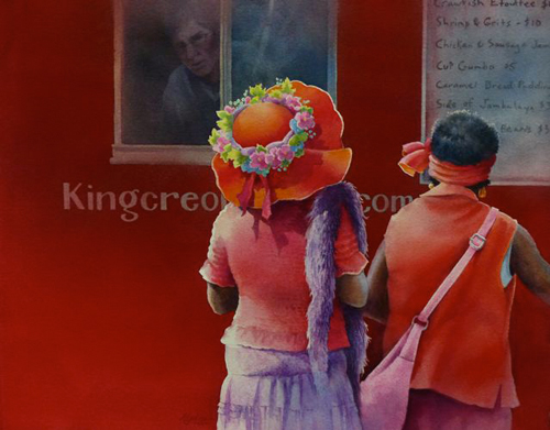 Red Hat Ladies Order Etouffe at the Food Truck (watercolor on paper) by Alexis Lavine | up-and-coming artists