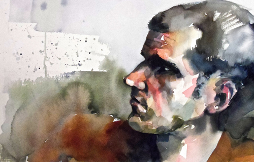 Waiting (watercolor on paper, 22x15) by Jordan Lively | up-and-coming artists