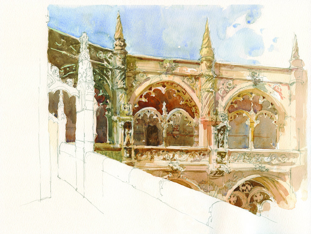 Lisbon, Jeronimos Interior (pen, ink and watercolor on 140-lb. Canson Montval block, 15x20) by Marc Taro Holmes