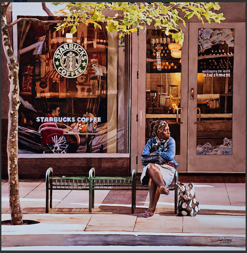 Starbucks (watercolor on paper, 28x28) Xiaochang Zhang | up-and-coming artists